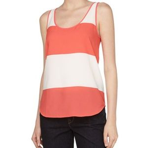 French Connection Sheer Color Block Tank Top